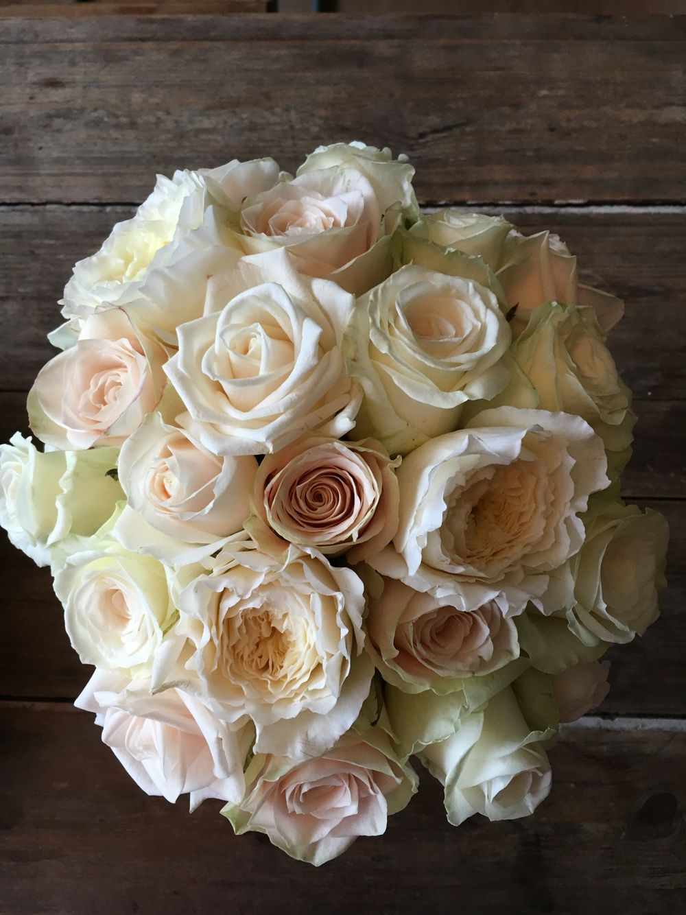 Classic bouquet of David Austin, Charmont, vandella and dolomite roses!
