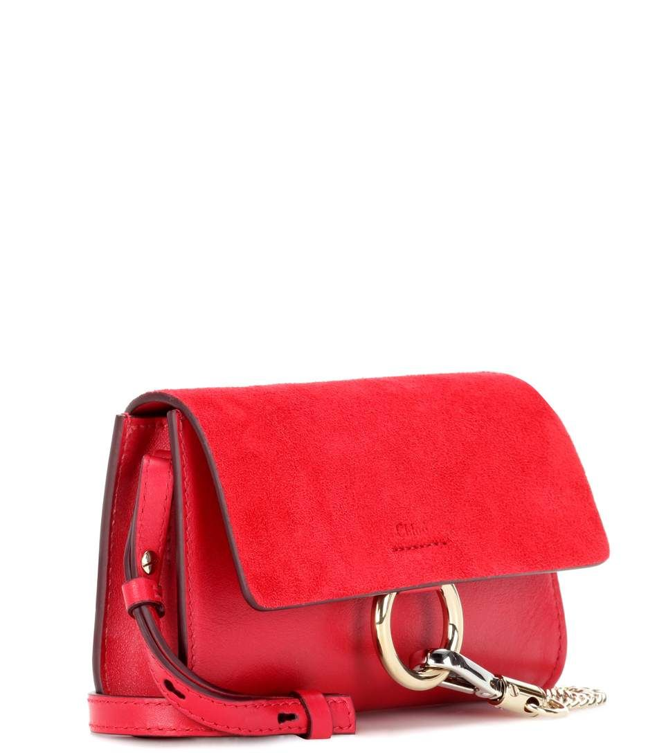 Faye Mini Wine Red Leather And Suede Wallet Bag Chloe