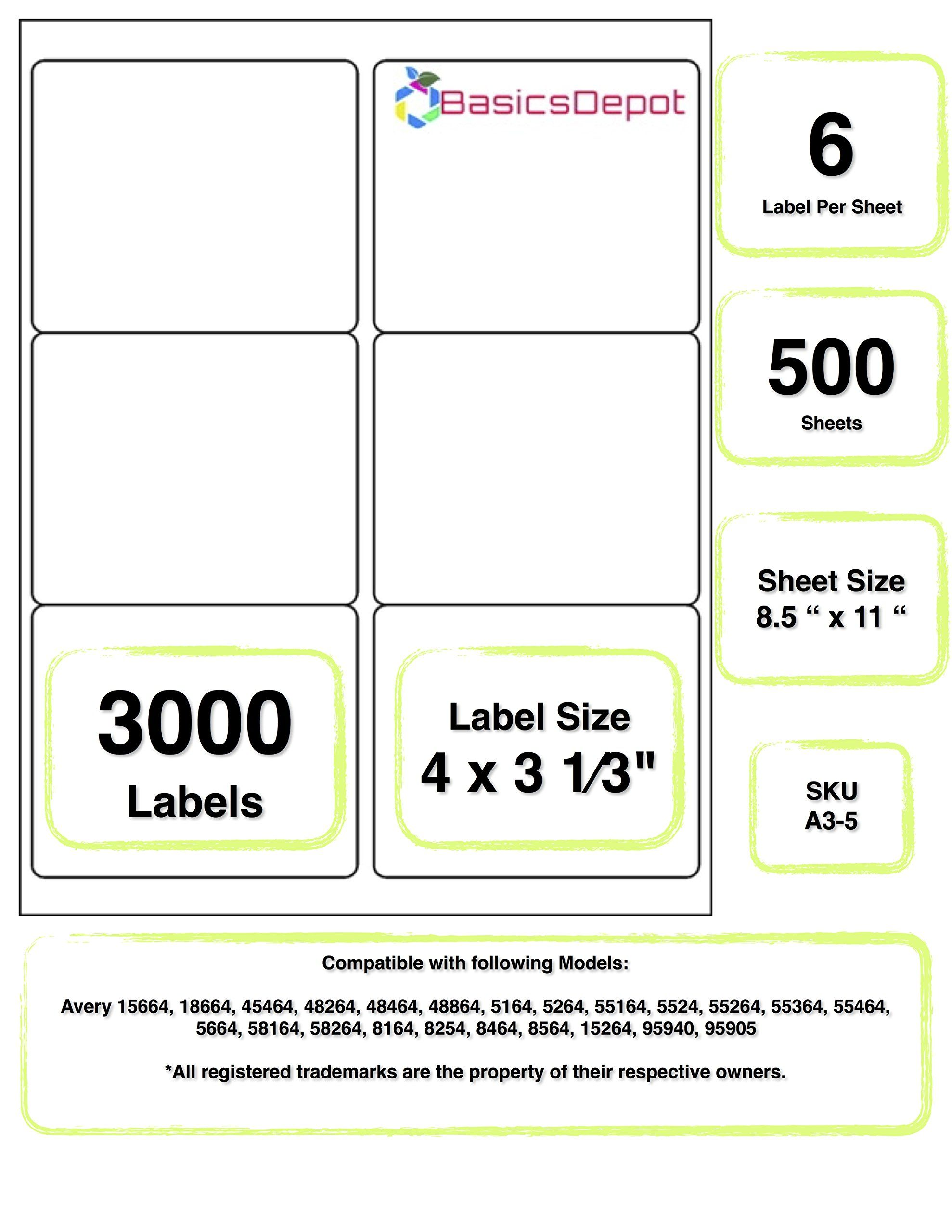 Avery 5164 Compatible 4 X 3 33 Inch Label Same Size As Avery 5164 6 Label Per Sheet 500 Lip Balm Labels Template Label Templates Printable Label Templates