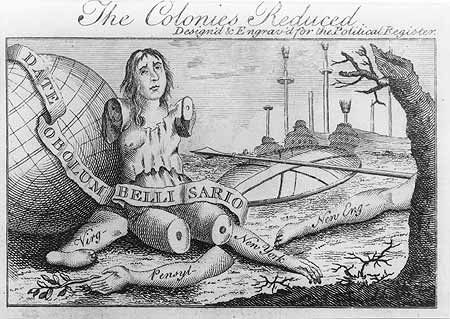 Cartoon by Benjamin Franklin about the Stamp Act.