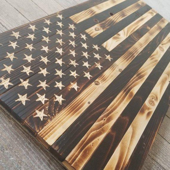 Rustic Wooden American Flag Original Charred Black And White 24 X 13 Wooden American Flag American Flag Wall Decor Rustic American Flag