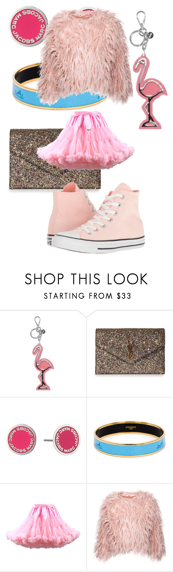 """""""Untitled #3729"""" by bellagioia ❤ liked on Polyvore featuring Miu Miu, Yves Saint Laurent, Marc Jacobs, Hermès, WithChic and Converse"""