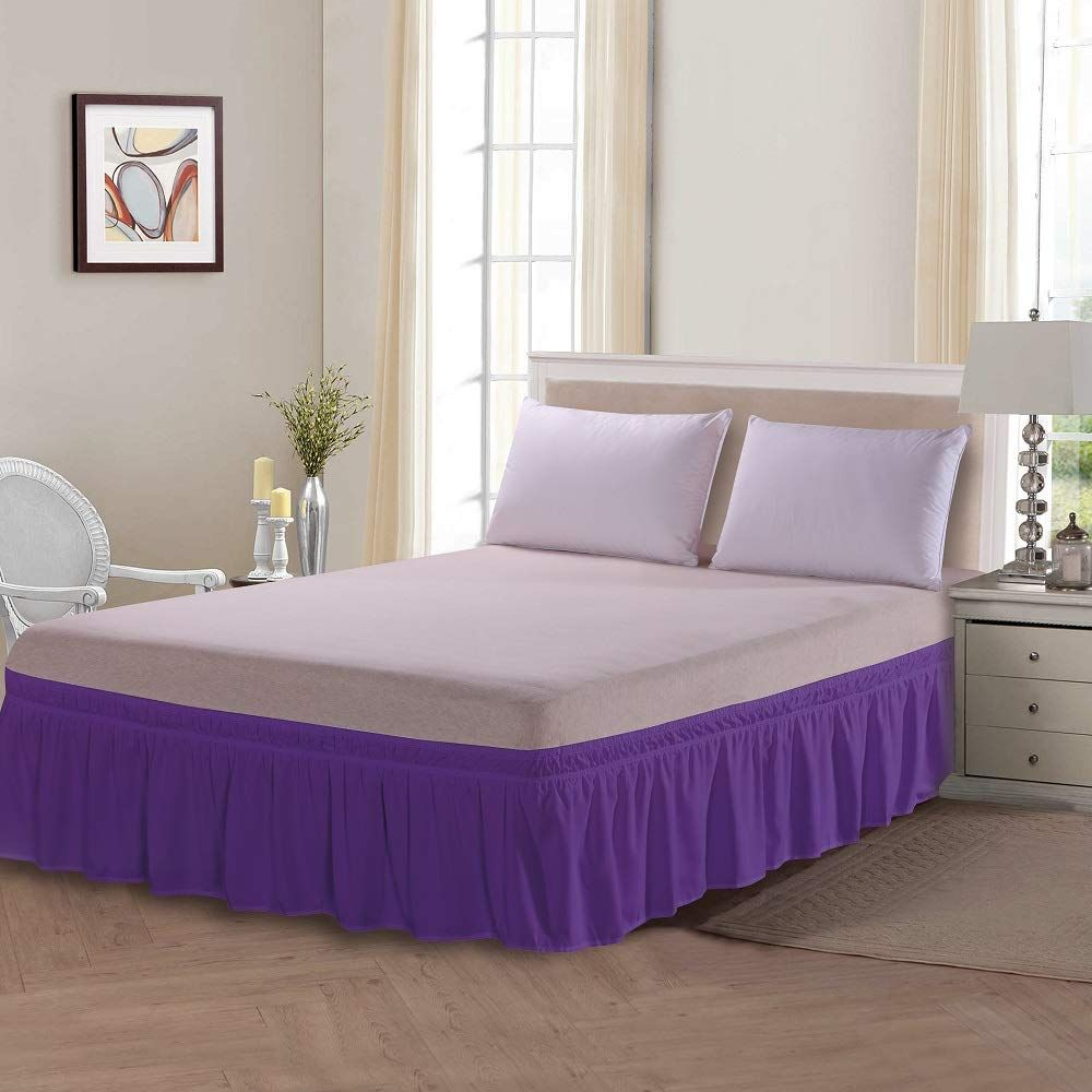 Lint Hint Three Sides Wrap Around Adjustable Solid Bed Skirt Dust
