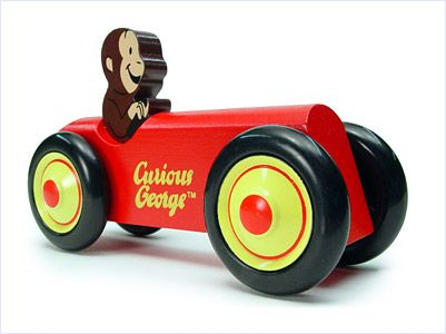 Curious George Wood Car Red Classic Wooden Kids Toy by Schylling