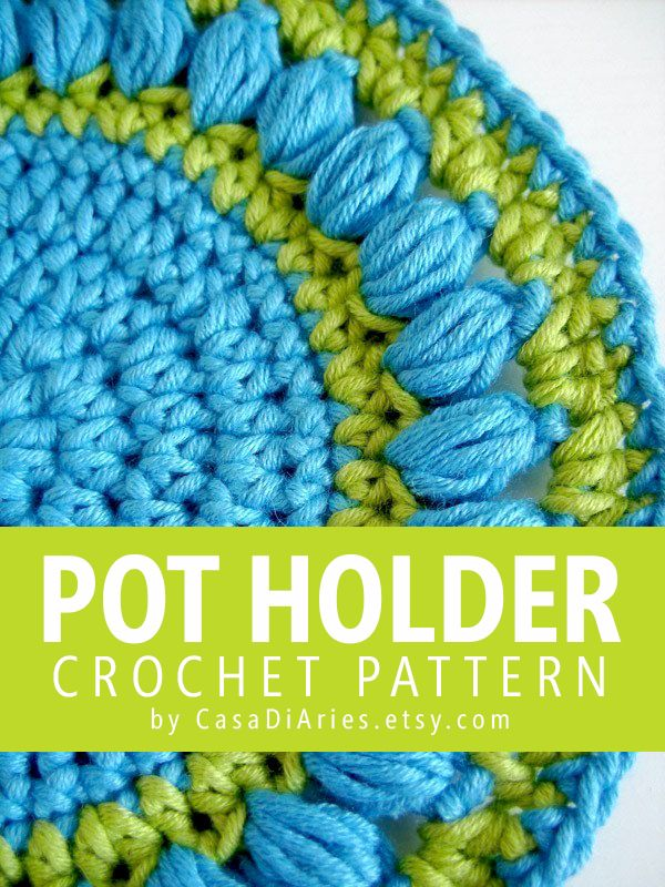 Easy To Crochet Round Pot Holder Or Bath Cloth With Decorative