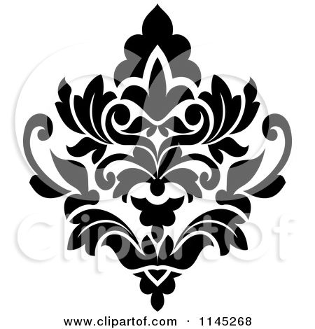 Beau Clipart Of A Black And White Damask Design 3   Royalty Free Vector  Illustration By Seamartini