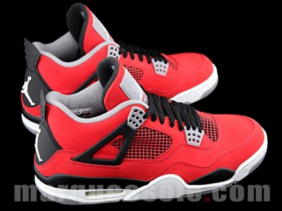 Air Jordan 4 Fire Red - White - Black - Cement Grey