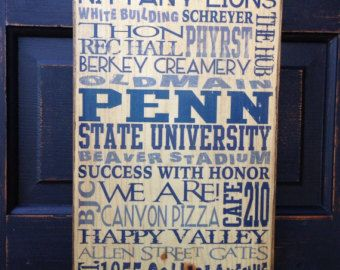 Penn State University Wood Sign Decor Pennsylvania Gift For Dad Art