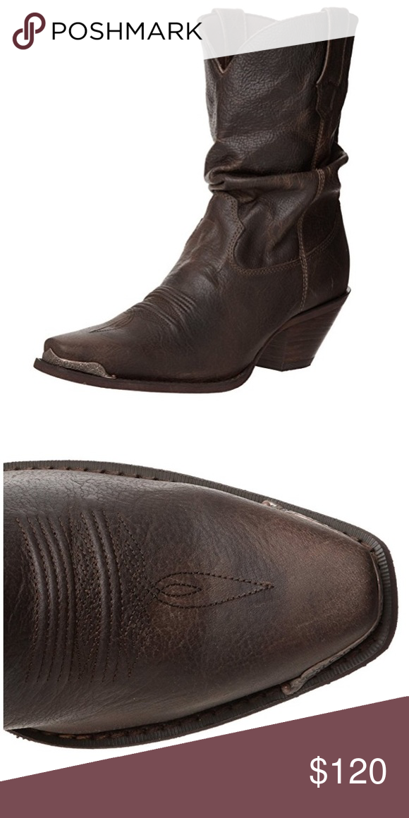 """Durango Crush Slouch Boot Distressed Sunset Brown Durango Crush Slouch Boot Distressed Sunset Brown • worn 1x • fits TTS • This urban cowgirl boot features a brown crinkle leather foot under a slouched 10"""" matching leather shaft. Antiqued brass-tone hardware. Narrow square toe profile. 2 1/4"""" cowgirl heel with rubber grip surface. • beautiful! • IRL pics to come • Durango Shoes Heeled Boots"""