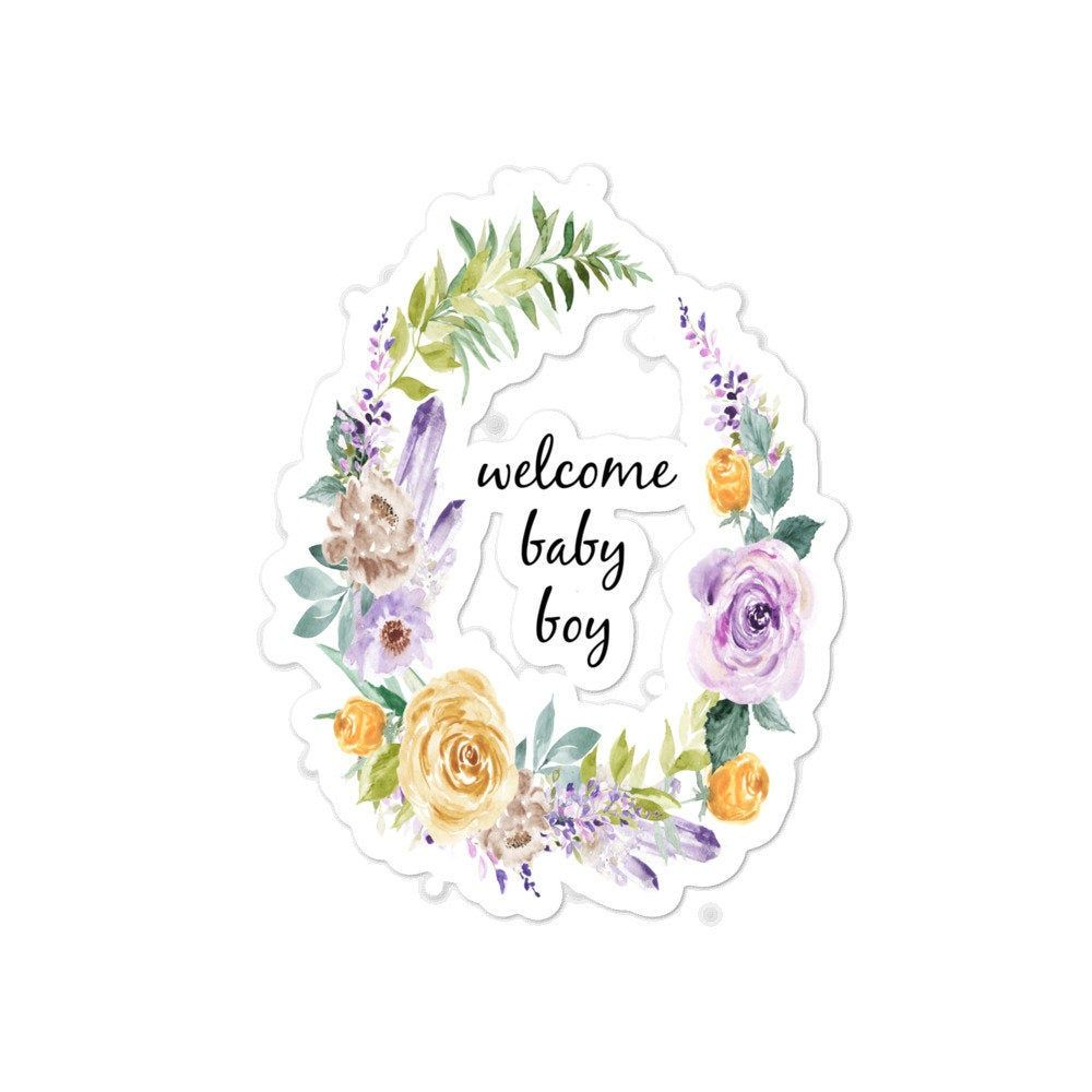 Watercolor Flower Baby Shower Stickers Welcome Baby Boy