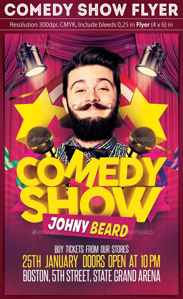 Comedy Show Flyer Event flyers, Psd flyer templates and Font logo - comedy show flyer template