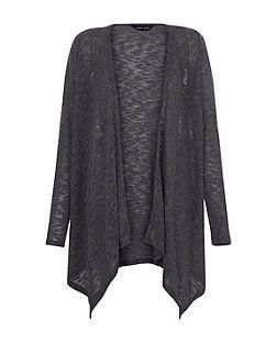 Dark Grey Fine Knit Slub Waterfall Cardigan | New Look | Dresses ...