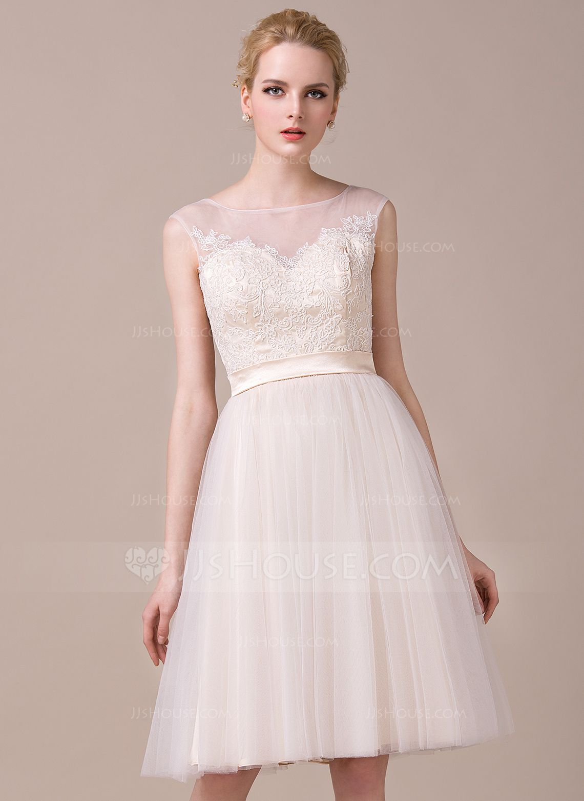 US$ 4.4] A-Line/Princess Scoop Neck Knee-Length Tulle Lace