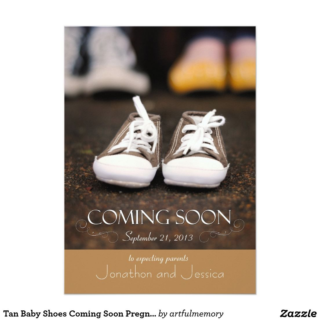 Tan Baby Shoes Coming Soon Pregnancy Announcement 5 X 7 – Coming Soon Baby Announcements