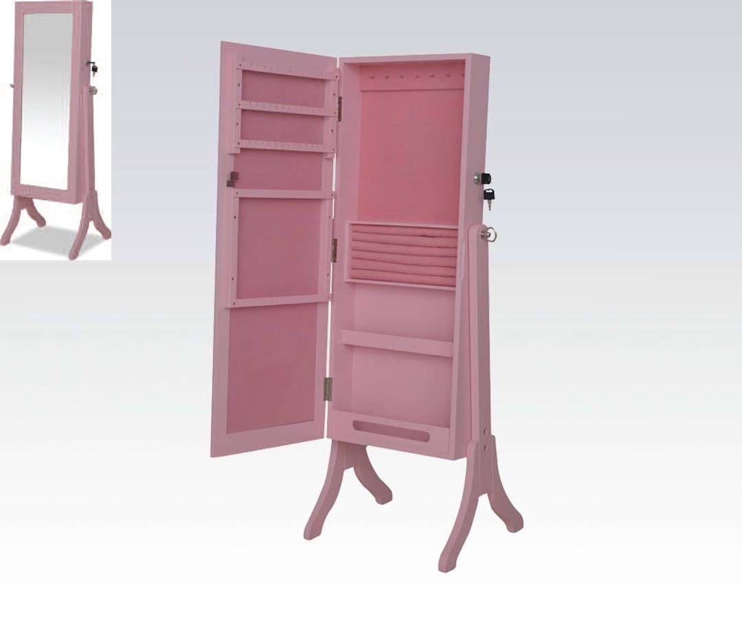 Jada Pink Wood Glass Jewelry Armoire | Jewelry Armoire ...