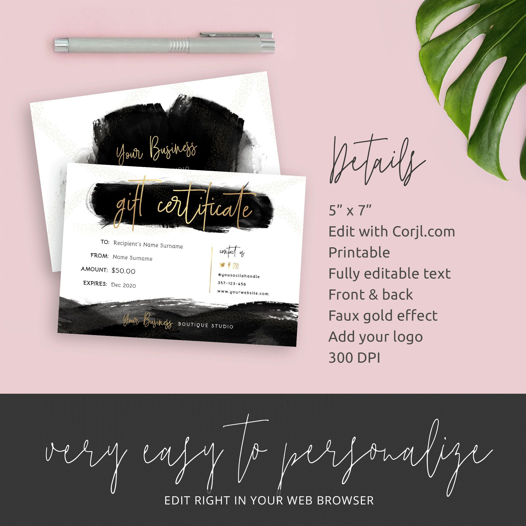 Editable Gift Certificate Template Black Gold Gift Voucher Etsy In 2020 Certificate Templates Gift Certificate Template Business Thank You Cards
