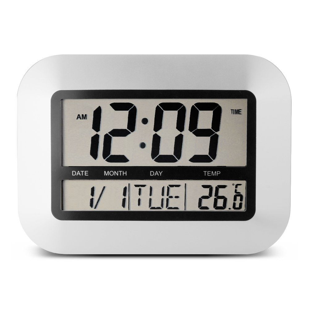 Egundo Sliver Alarm Clock Digital Lcd Screen With Indoor Temperature Snooze Timer Date 12 24 Hour Batter Large Digital Wall Clock Wall Clock Modern Alarm Clock