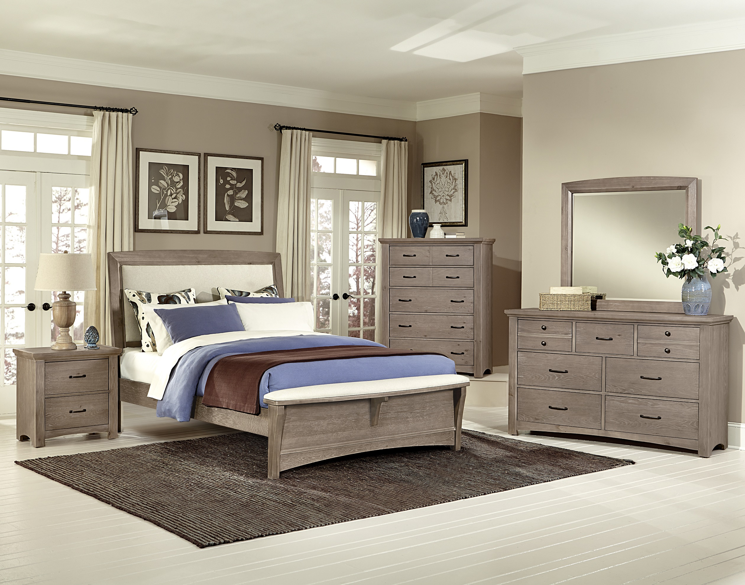 Transitions Driftwood Oak Queen Upholstered Bedroom Set By Vaughan