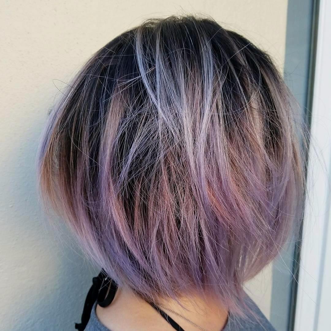 Color Partial Highlight And Haircut 410 Purple Hair Ideas