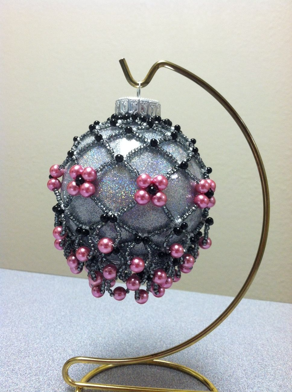 Beaded Ornament Cover Champagne Ornament Pattern Is From Bead And Button B Beaded Ornament Covers Homemade Christmas Ornaments Diy Beaded Christmas Decorations