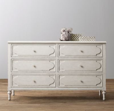 RH baby&child's Bellina Wide Dresser:We took the best features of our favorite French designs from the late 18th century and combined them to create this beautifully balanced composition. Raised molding and rosette carvings add a genteel air.