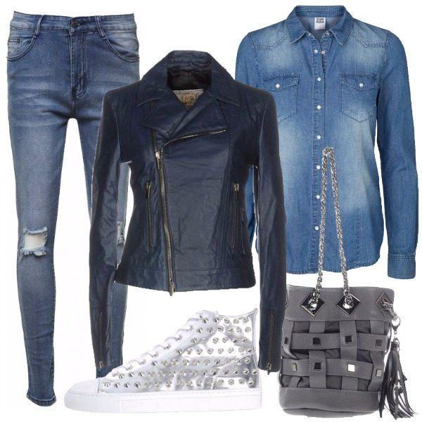 commercio St formula  Jeans slim fit con strappi, camicia in jeans con bottoni e taschini, giacca  in pelle con collo classico, polsi… | Camicia di jeans, Abiti alla moda,  Giacca di pelle