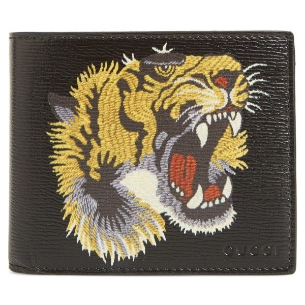 41c3b97022c0 Men's Gucci Leather Tiger Head Wallet ($420) ❤ liked on Polyvore featuring  men's fashion