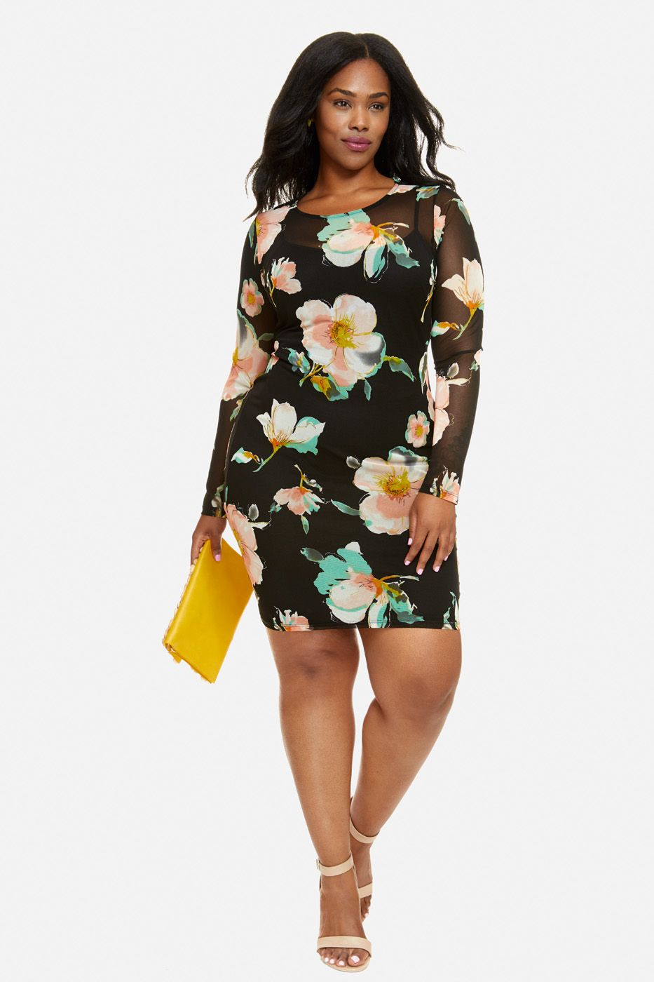 Plus size giselle floral mesh bodycon dress me guta pinterest