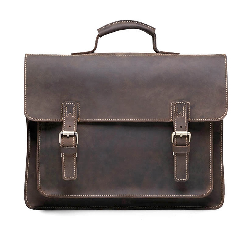 73.75$  Watch here - http://alinei.worldwells.pw/go.php?t=32368877597 - Free Shipping New  Crazy Horse Genuine Leather Vintage Aipper Single Laptop Briefcase Messenger Shoulder Attache Tote Bag T8884 73.75$