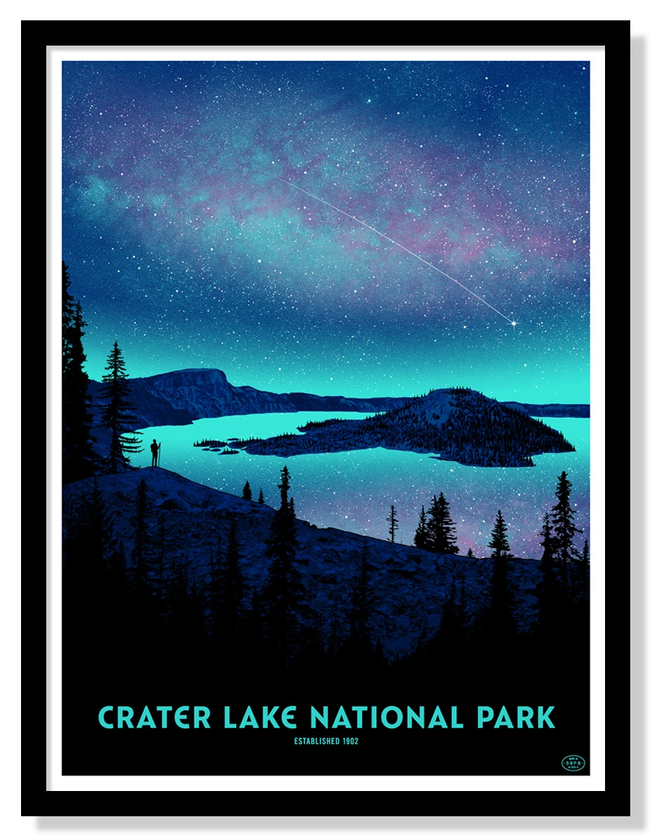 Crater Lake National Park Poster (Night Sky) – Fifty-Nine Parks