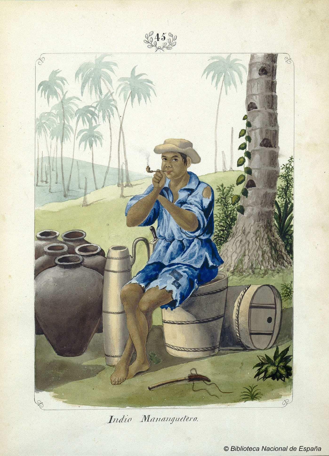 Indio Mananguetero. Lozano, José Honorato 1821- — Dibujo — 1847
