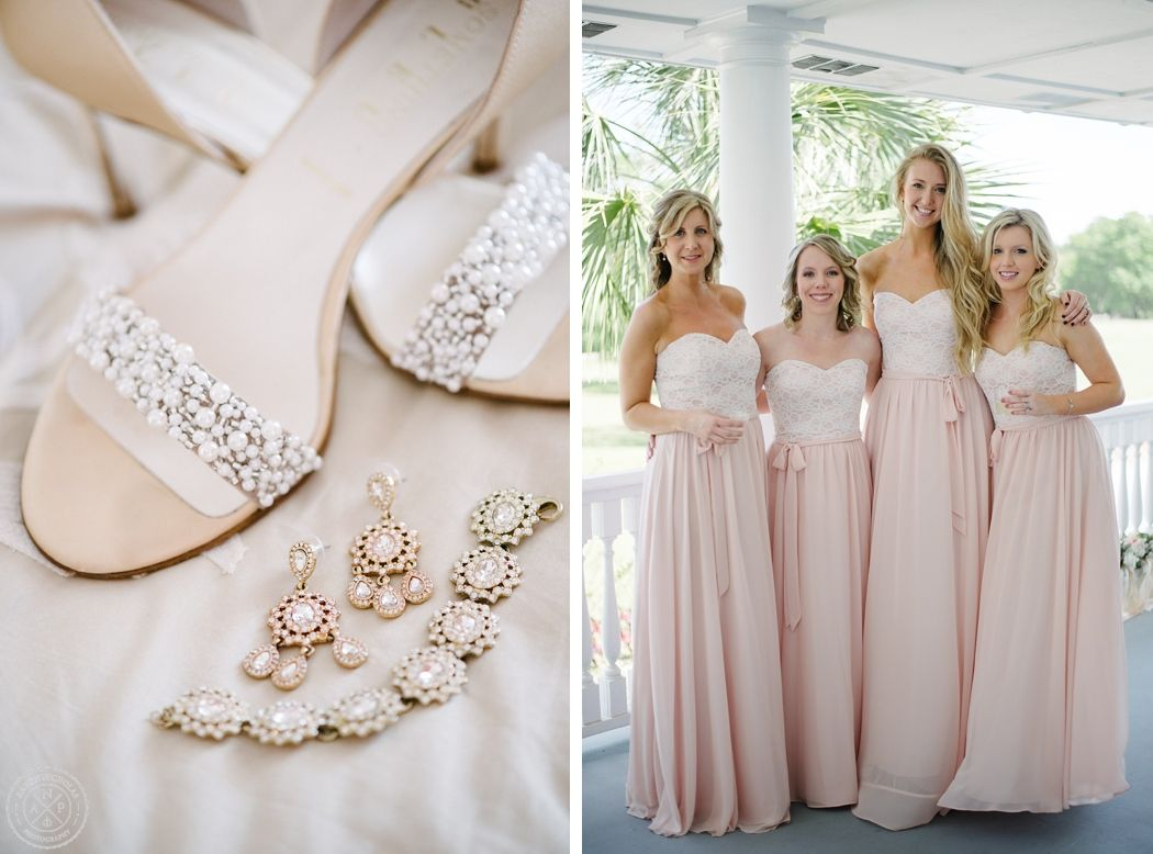 An Old Wide Awake Plantation Wedding In Charleston SC Pearl Bridal Shoes Rent The Runway Jewelry And Blush Pink Lace Bridesmaids Dresses