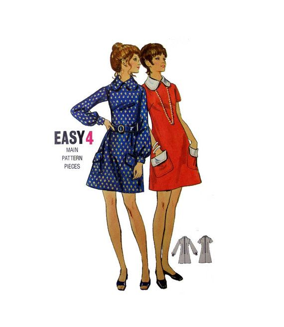 Womens A-Line Dress Butterick 5913 Misses Size 16 Bust 38 Vintage 1960's Easy to Sew Sewing Pattern
