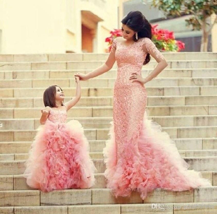 0e88fc4142 2014 New arrival Lovely Pink Mother Daughter Wedding Dresses with ...