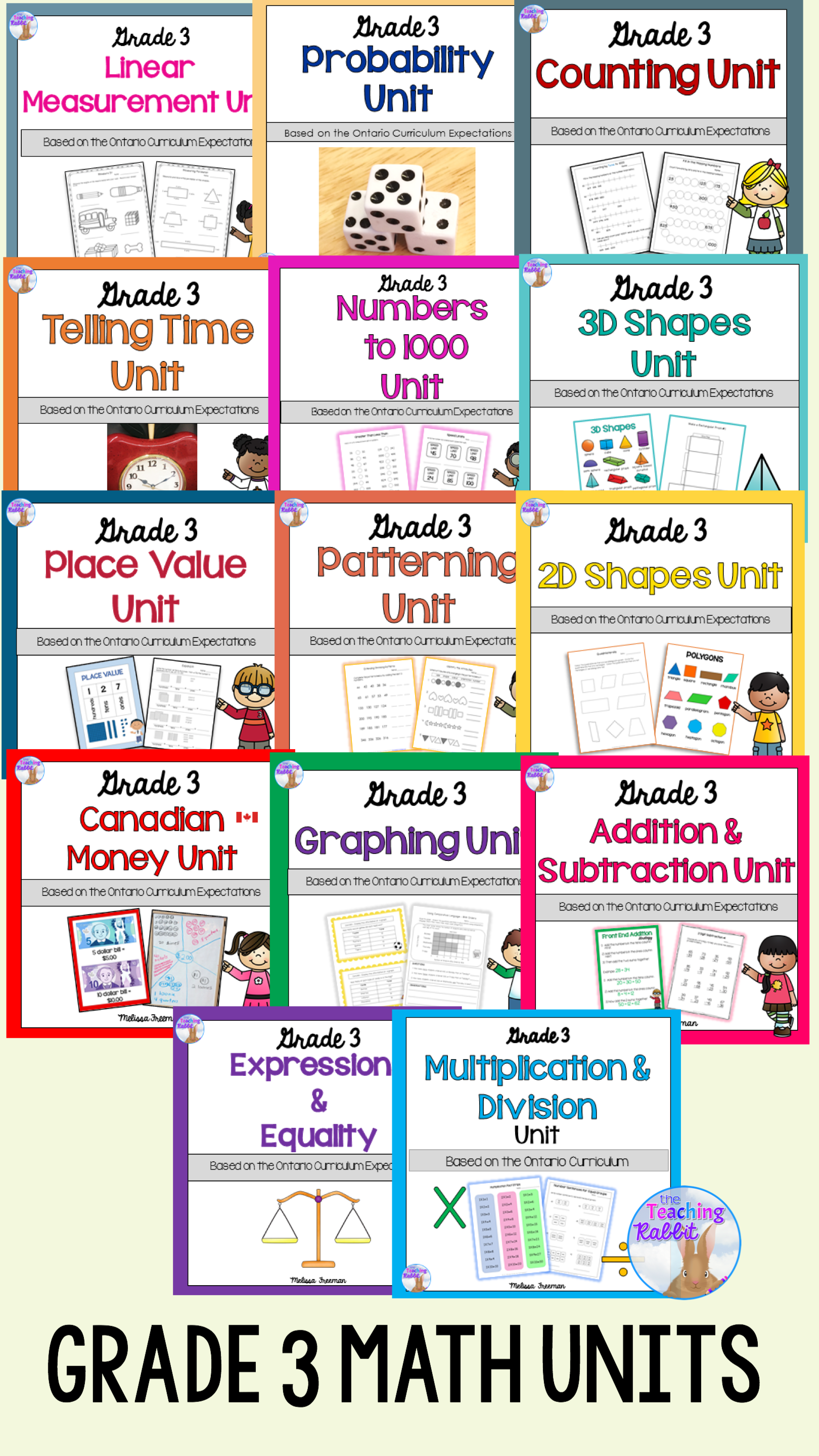 Grade 3 Math Units Full Year Bundle With Images