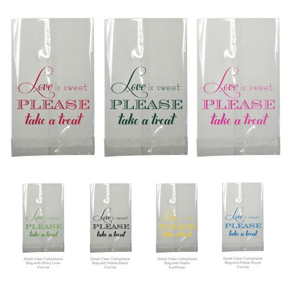Candy Bar Bag Wedding Favor Love is Sweet Clear Small Cellophane