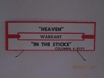 Warrant Heaven / In the Sticks orig Columibia jukebox strip