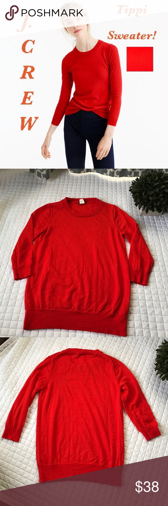 """J. Crew Retail Tippi Neon Flame Sweater Soft and layers well! Gently used, in excellent condition! No stains, holes or rips! Merino Wool. Rib trim at neck, cuffs and hem. Hard to show the color in photos, it's more orange than red. Hand wash. Lying flat it measures 23"""" in total length 15.5"""" across and the sleeves are 3/4 sleeves that measure 17"""". All of my items come from a clean smoke-free home! Please let me know if you have any questions and check my closet! Save when you bundle!! J. Crew…"""