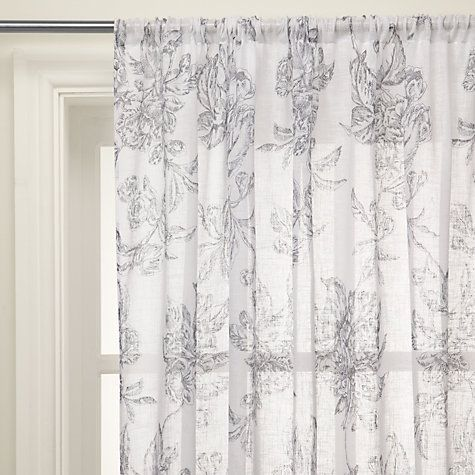 Fabric Print For Rolled Curtains Buy John Lewis Ambleside Voile Panel Grey Online At