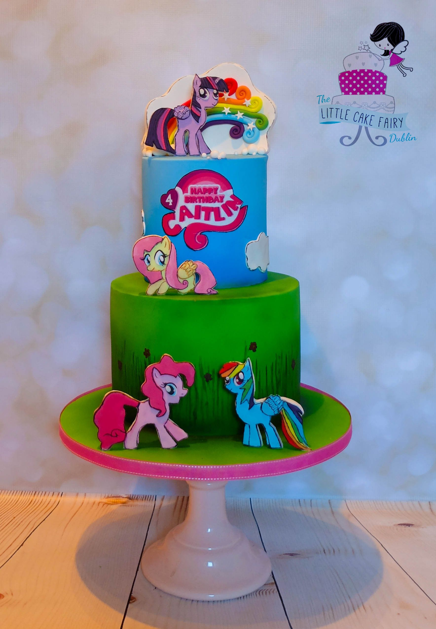 my little pony cake featuring handcut and handpainted 2d