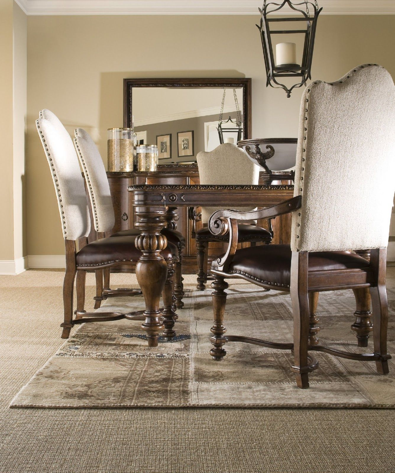 Amazing Wooden Upholstered Nailhead Side Dining Chair And Carving