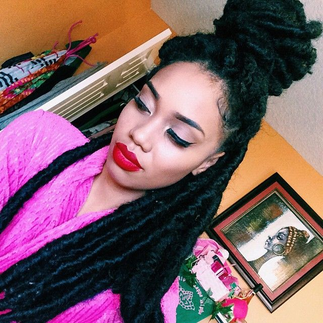 black girl with dread locks, afro hair, hairstyle, black womens inspiration, makeup, red lipstick
