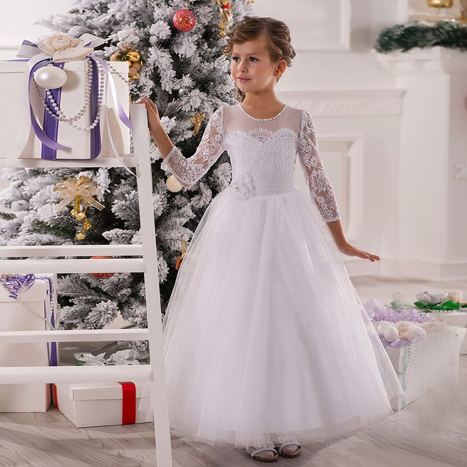 Click to Buy << Kids Beauty Pageant Dresses White Long Sleeves Ball ...