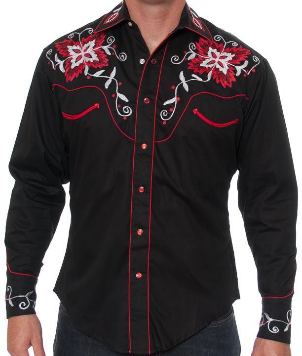 Rockmount Men 39 S Vintage Floral Western Snap Shirt Black