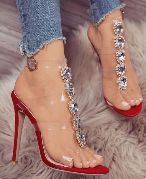 Luxury crystal  buckle strap sandals fashion week style Donna  crystal  c809d4