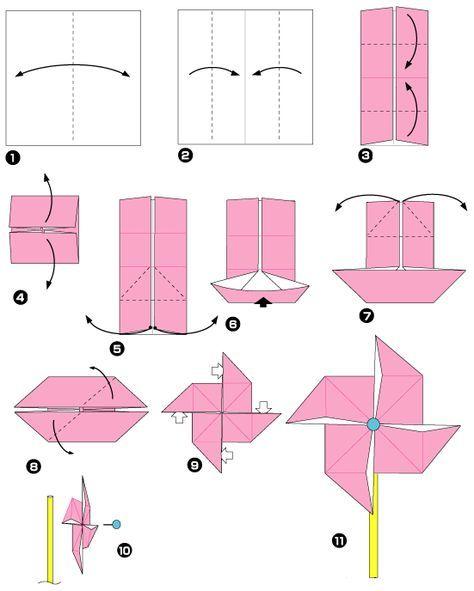 origami facile moulin