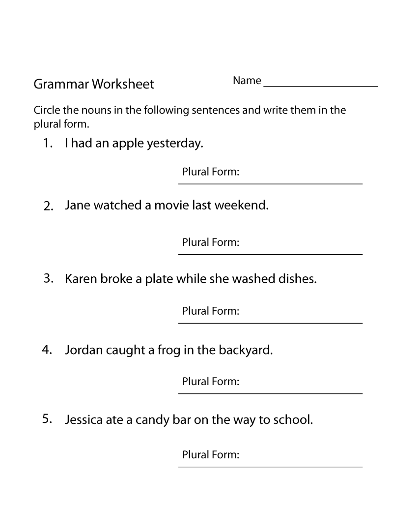 Free English Worksheets Grammar for Kids | K5 Worksheets | Kids ...