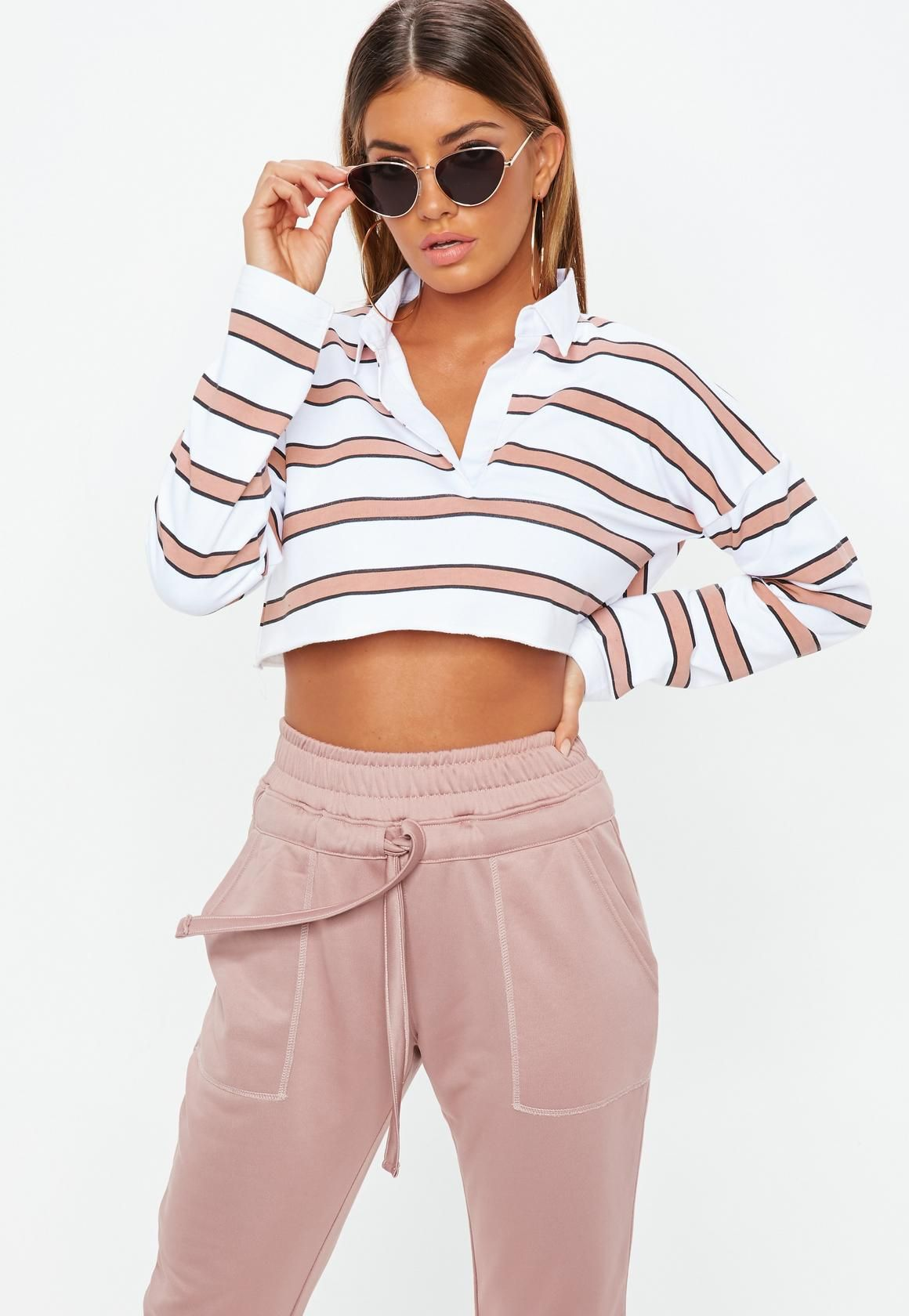 b4db5103f4125 Missguided - Petite White Striped Cropped Rugby Top