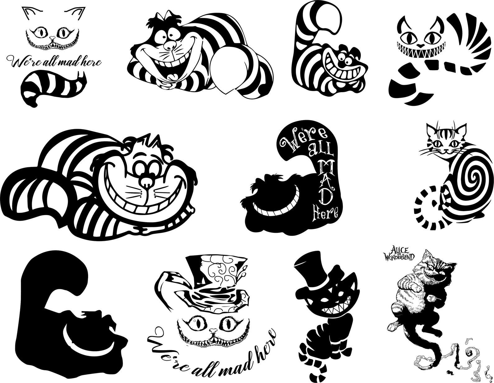 Cheshire Cat svg, Cheshire Cat set, Cheshire Cat clipart