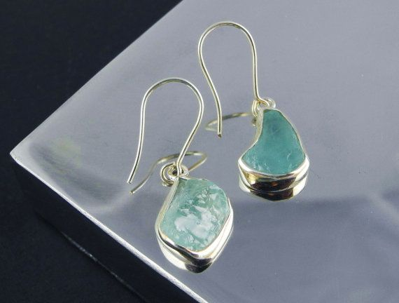 Aquamarine Earrings March Birthstone Aquamarine by SilverPlusGems